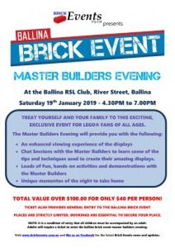 An image depicting BALLINA BRICK EVENT MASTER BUILDERS EVENING
