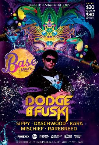 An image depicting BASE ft DODGE & FUSKI >>>MARDI GRAS PARTY<<<